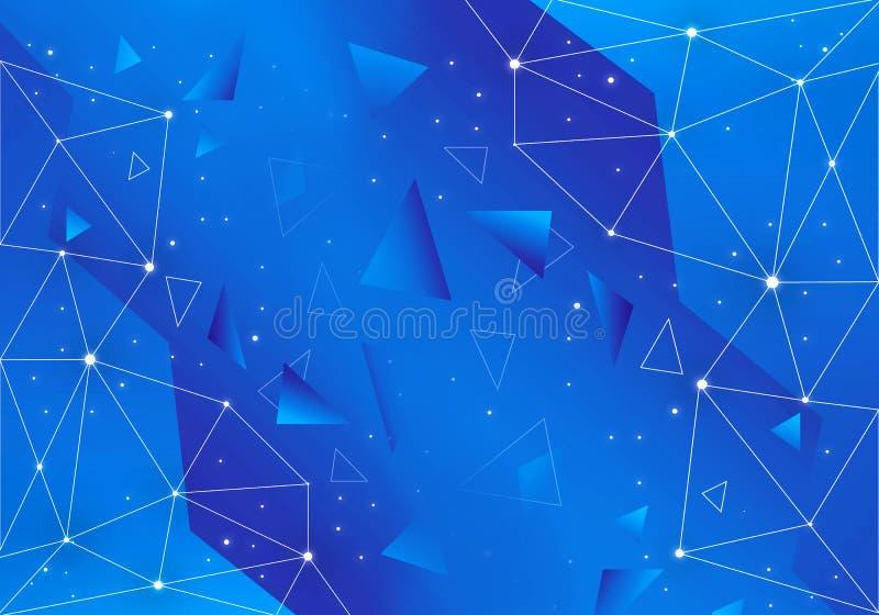 在蓝色背景的摘要艺术性的独特的几何网络 皇族释放例证