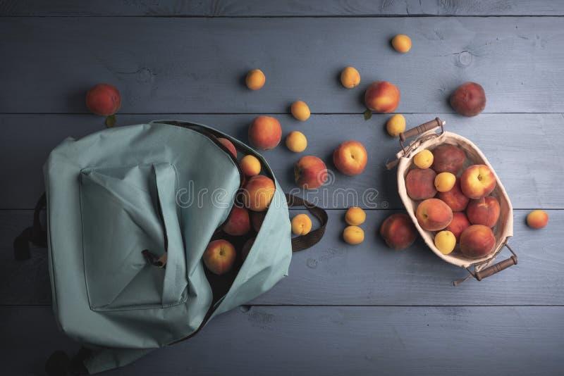 在蓝色背景的新近地被收获的果子,在看法上 图库摄影
