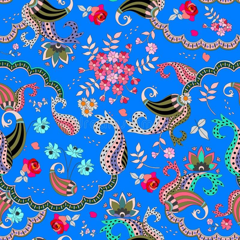 在蓝色背景的无缝的佩兹利花卉样式在传染媒介 罗斯、波斯菊花、雏菊和叶子和幻想buta装饰品 库存例证