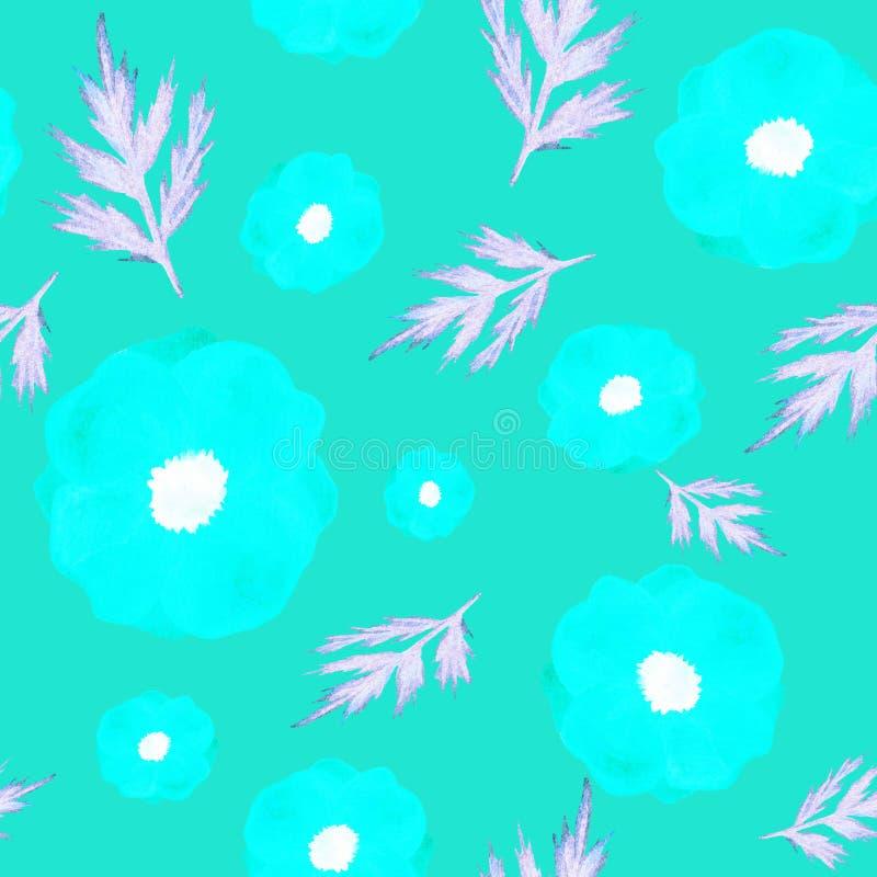 在蓝色背景的无缝的样式花 手画水彩 对设计,纺织品,印刷品 向量例证