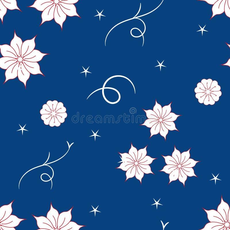 在蓝色背景的无缝的花卉样式 皇族释放例证