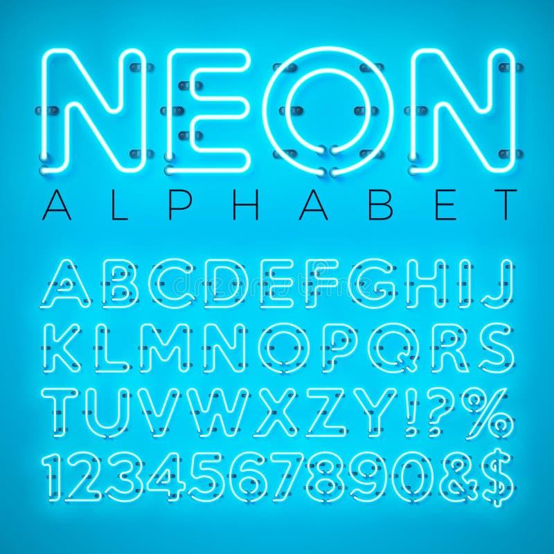 在蓝色背景的明亮的霓虹字母表 传染媒介信件、数字和标志与层状被分离的发光的焕发作用 向量例证