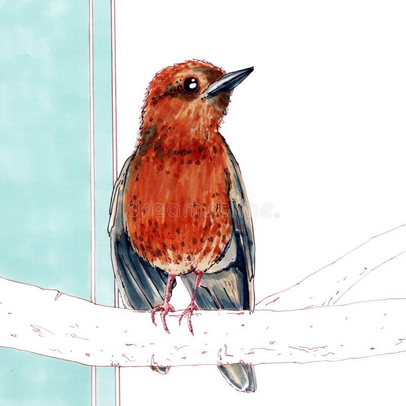 在蓝色背景的春天鸟 免版税图库摄影