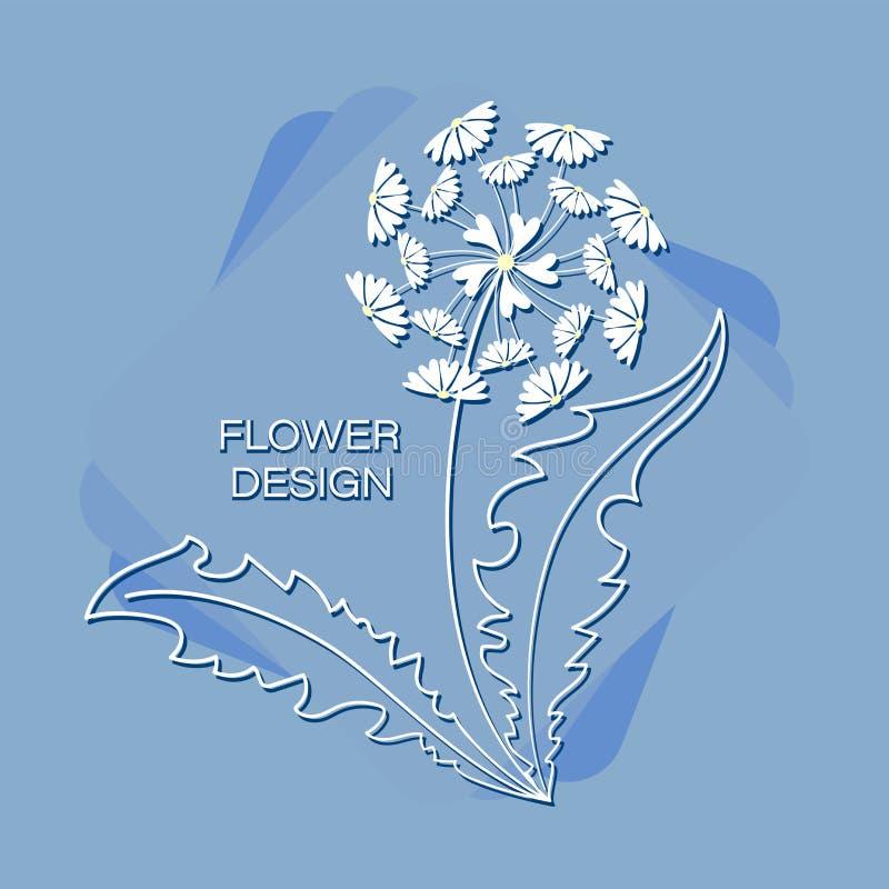 在蓝色背景的春黄菊蒲公英 背景背景卡片设计花卉例证 向量例证