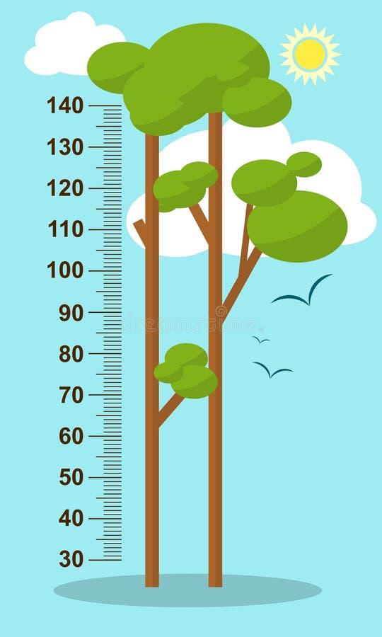 在蓝色背景的树 儿童高度米墙壁贴纸,孩子测量 向量 向量例证