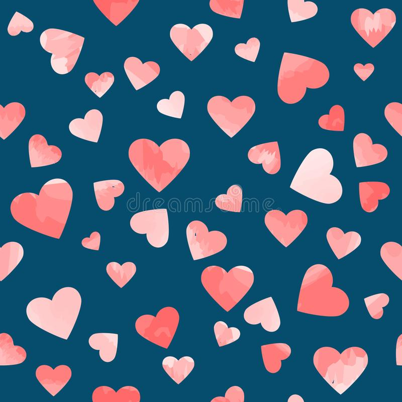 在蓝色背景的桃红色水彩心脏 上色模式可能的变形多种向量 皇族释放例证