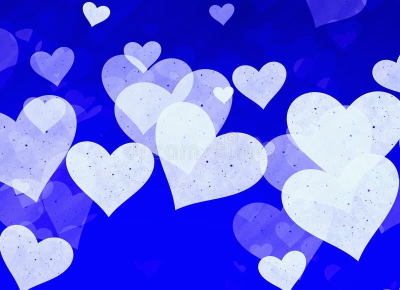 在蓝色背景的梦想的轻的心脏 皇族释放例证