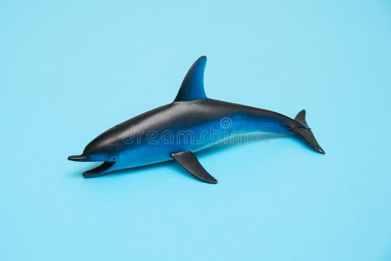 在蓝色背景的海豚玩具 库存照片