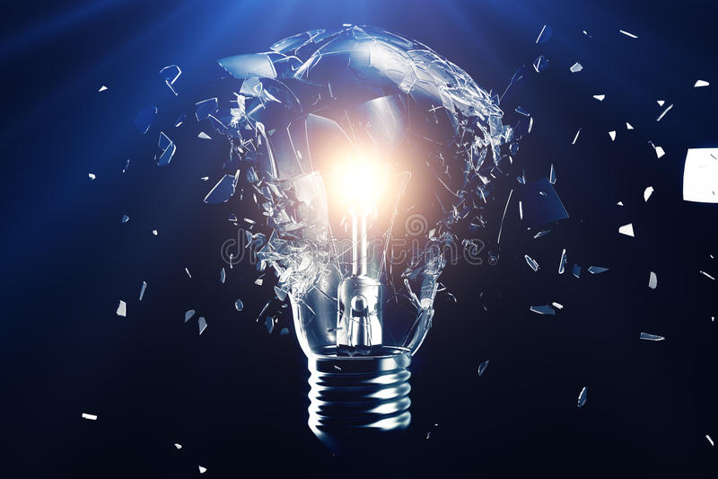 在蓝色背景的爆炸的电灯泡,与概念创造性思为和创新解答 3d翻译 向量例证
