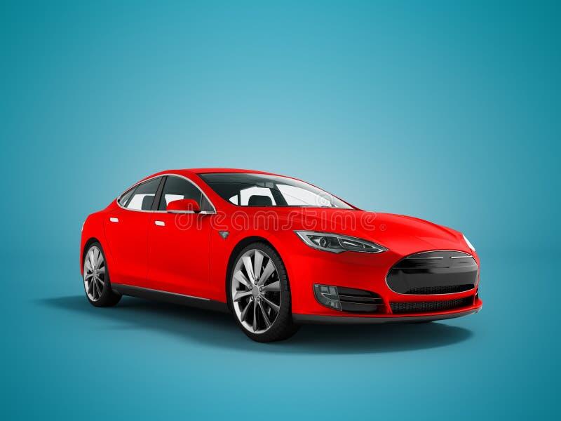 在蓝色背景的现代新的红色电车3d翻译与 皇族释放例证