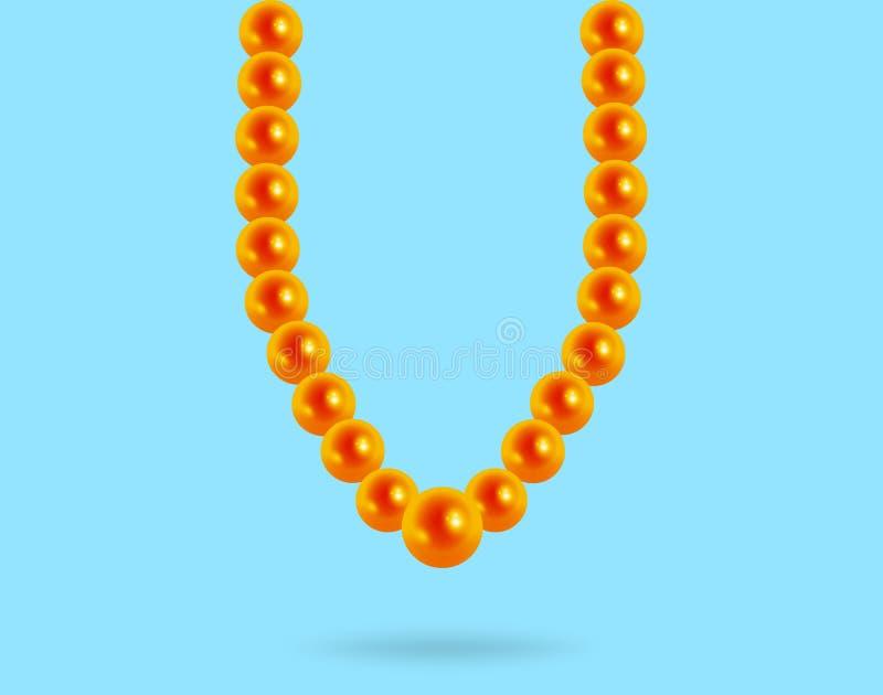 在蓝色背景的珍贵的珍珠项链,反射 皇族释放例证