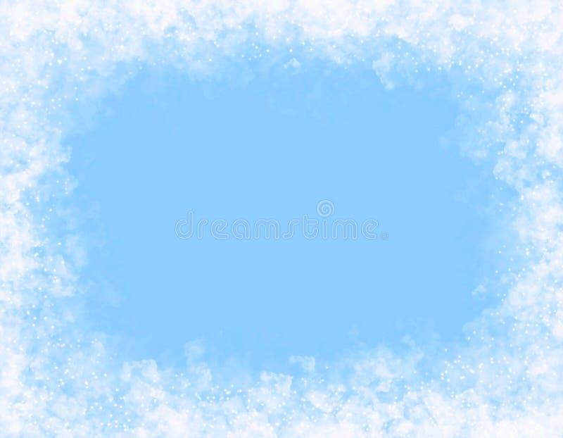 在蓝色背景的白色云彩 装饰框架 皇族释放例证