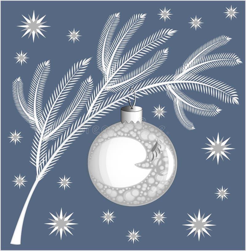 在蓝色背景的白色具球果圣诞节树分支与以一个球的形式一个圣诞节树玩具与图象的 皇族释放例证