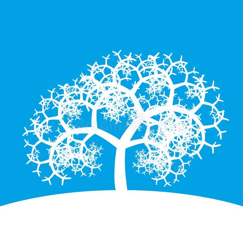 在蓝色背景的白色分数维树 图库摄影
