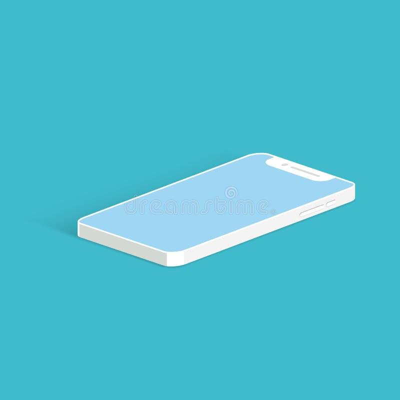 在蓝色背景的白色智能手机大模型 等轴测图 皇族释放例证