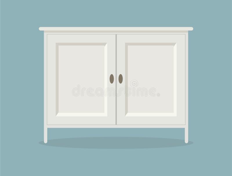 在蓝色背景的白色梳妆台办公室、旅馆、客厅、卧室或者卫生间的 库存例证