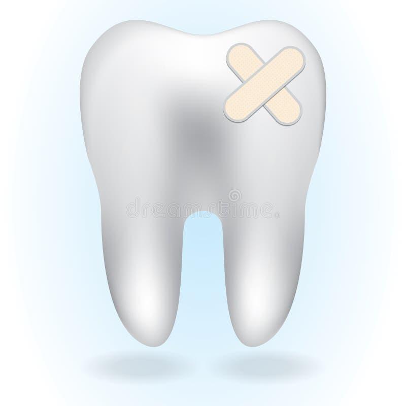 在蓝色背景的白色牙 库存例证