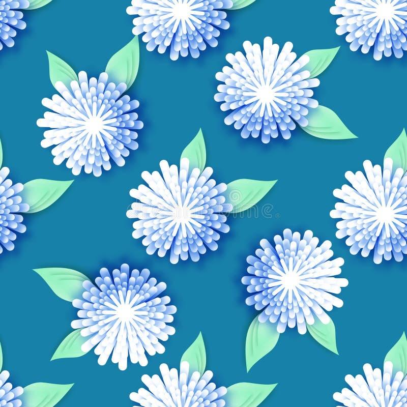 在蓝色背景的白色蓝色Origami花卉无缝的样式 库存例证