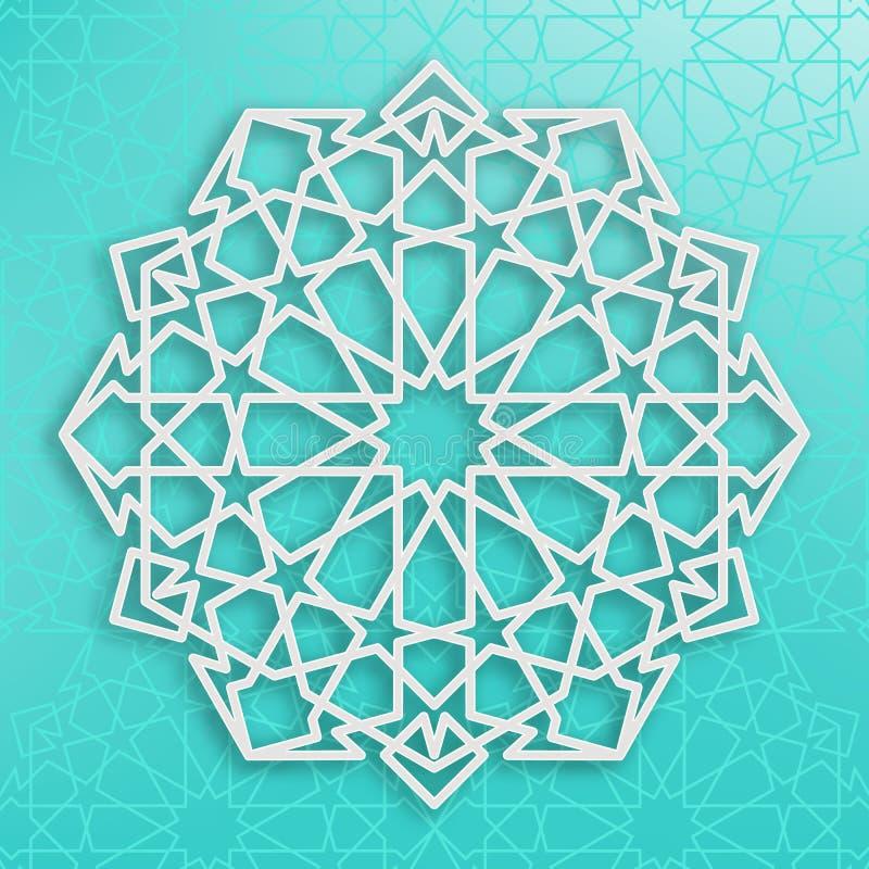 在蓝色背景的白色阿拉伯装饰品 对称的模式 东部伊斯兰教的框架 皇族释放例证