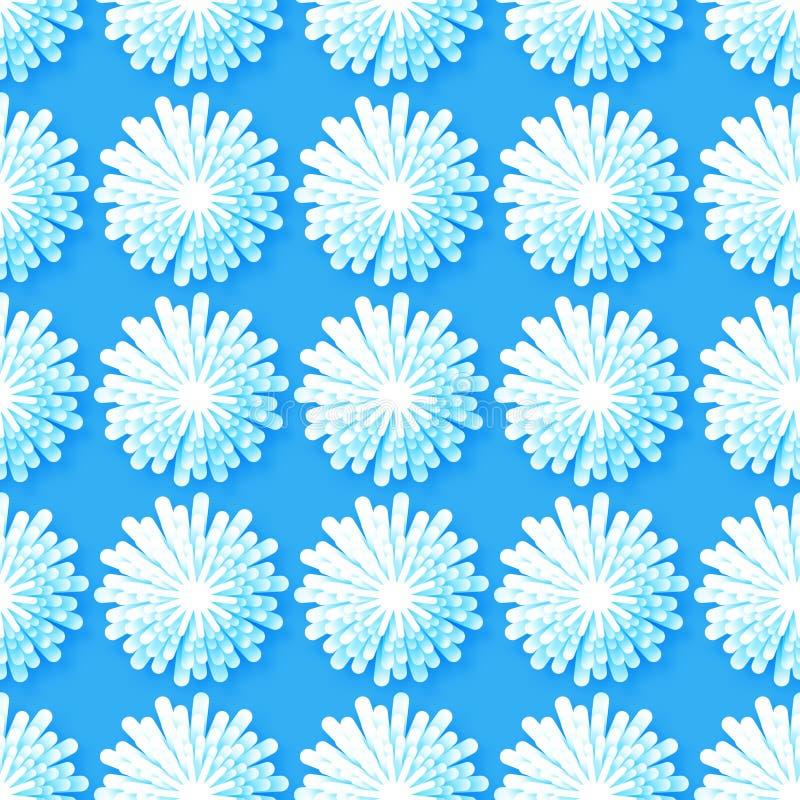 在蓝色背景的白色Origami花卉无缝的样式 皇族释放例证