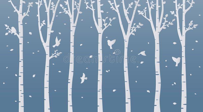 在蓝色背景的纸艺术桦树 向量例证