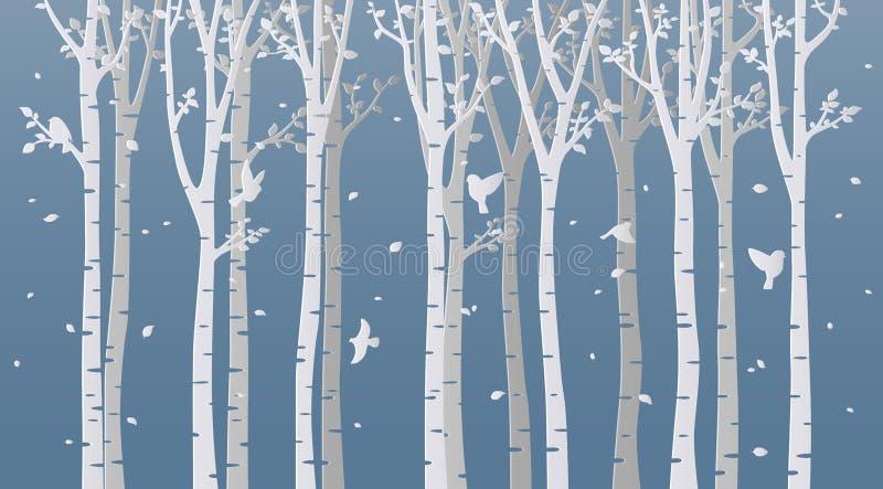 在蓝色背景的纸艺术桦树 皇族释放例证