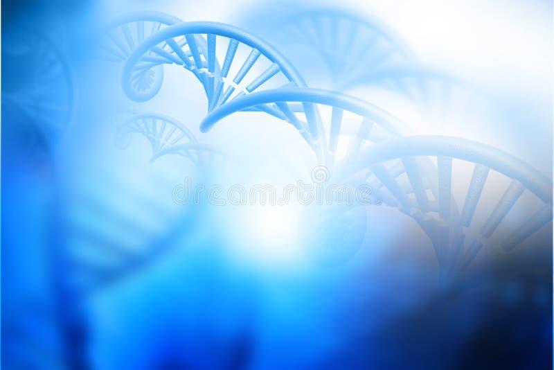 在蓝色背景的脱氧核糖核酸结构 库存例证