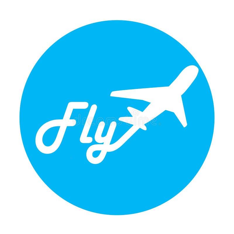 在蓝色背景的航空公司商标 库存例证