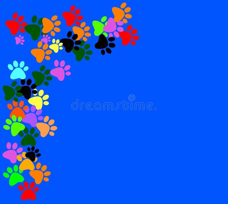 在蓝色背景的色的pawprints 向量例证