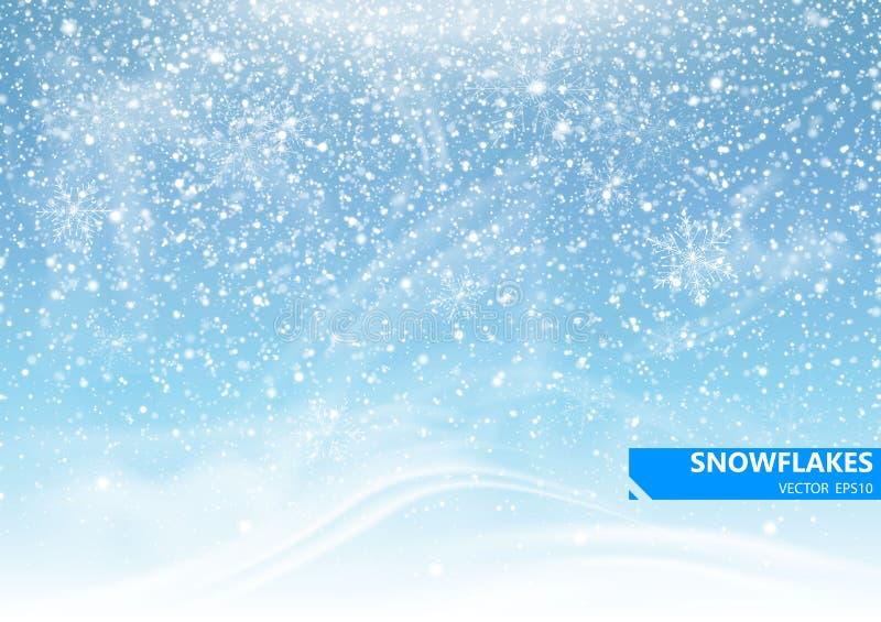 在蓝色背景的落的雪 暴风雪和雪花 背景寒假 向量 库存例证