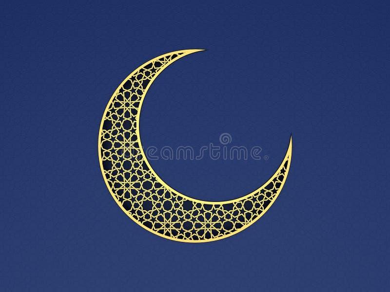 在蓝色背景的蔓藤花纹月亮 免版税图库摄影