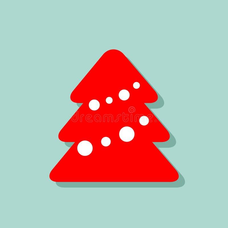 在蓝色背景的装饰的红色和白色圣诞节快乐树象 与阴影的传染媒介图象 新年在平的样式的动画片图片 皇族释放例证