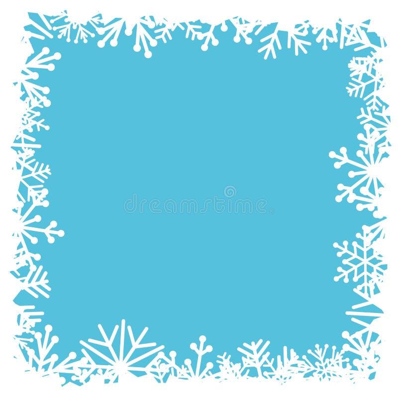 在蓝色背景的装饰雪花 库存例证