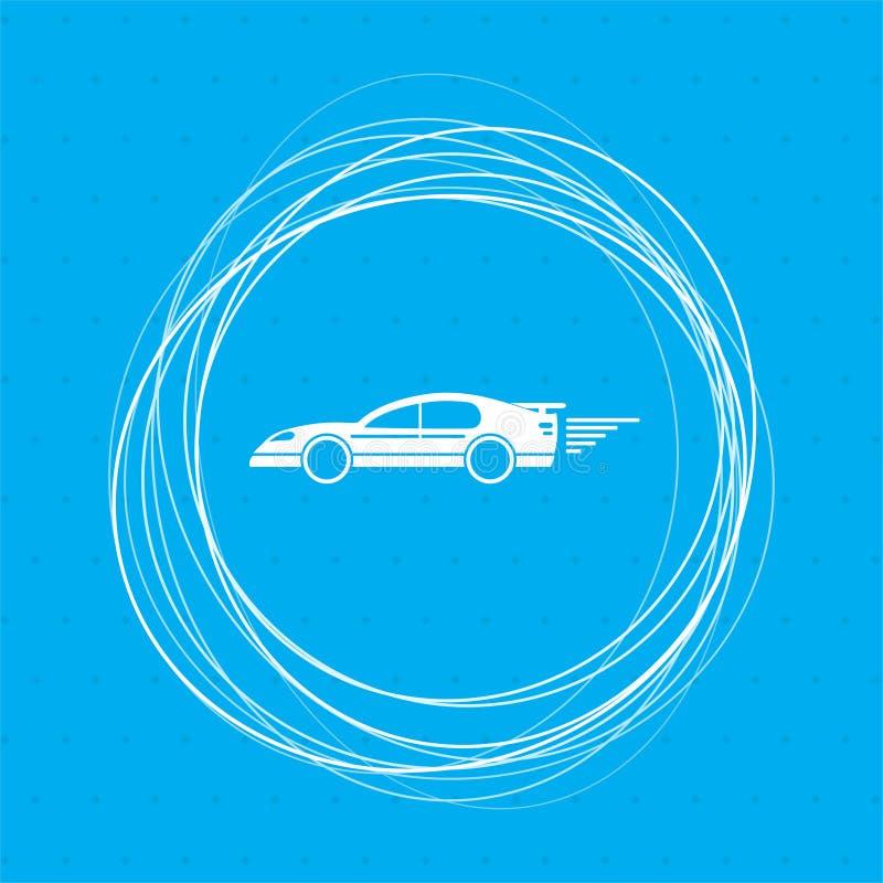 在蓝色背景的超级汽车象与抽象您的文本的圈子在附近和地方 向量例证