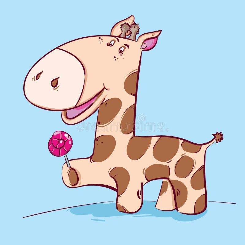 在蓝色背景的逗人喜爱的动画片长颈鹿 向量例证