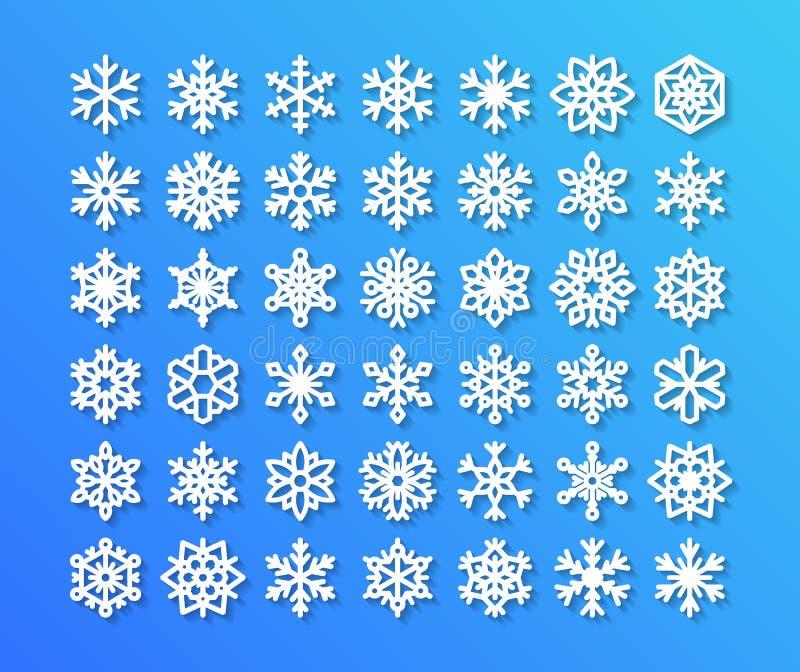 在蓝色背景的逗人喜爱的雪花收藏 平的雪象,雪剥落剪影 好的雪花为 库存例证