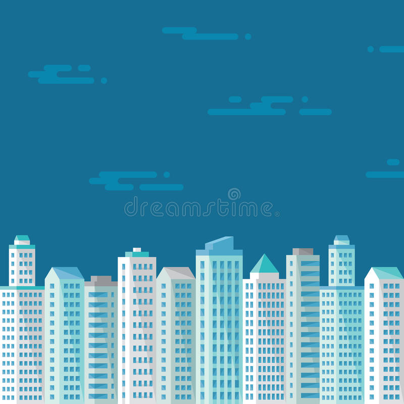 在蓝色背景的都市风景在介绍、小册子、传单和另外设计的平的样式运作 库存例证