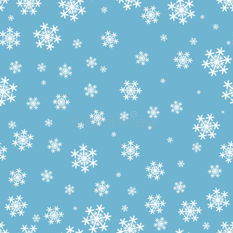 在蓝色背景的雪花无缝的圣诞节样式 库存例证
