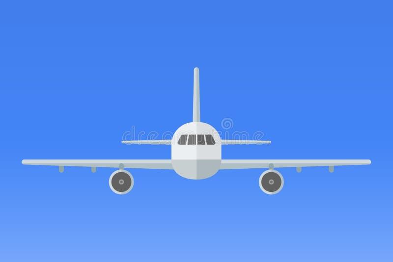 在蓝色背景的飞机 在天空的平面飞行 正面图 皇族释放例证