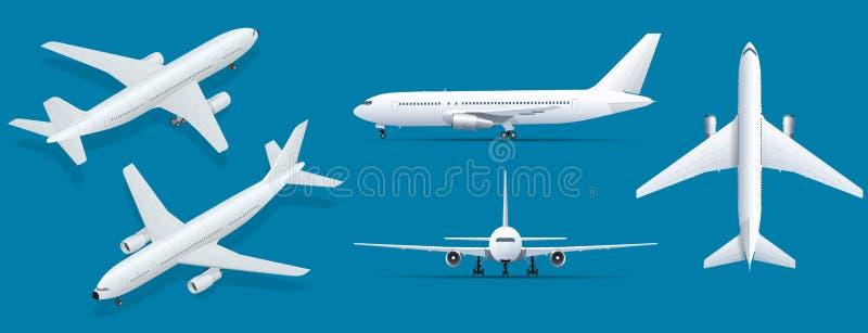 在蓝色背景的飞机 飞机工业图纸  在上面,边的班机,正面图和等量 平面 库存例证