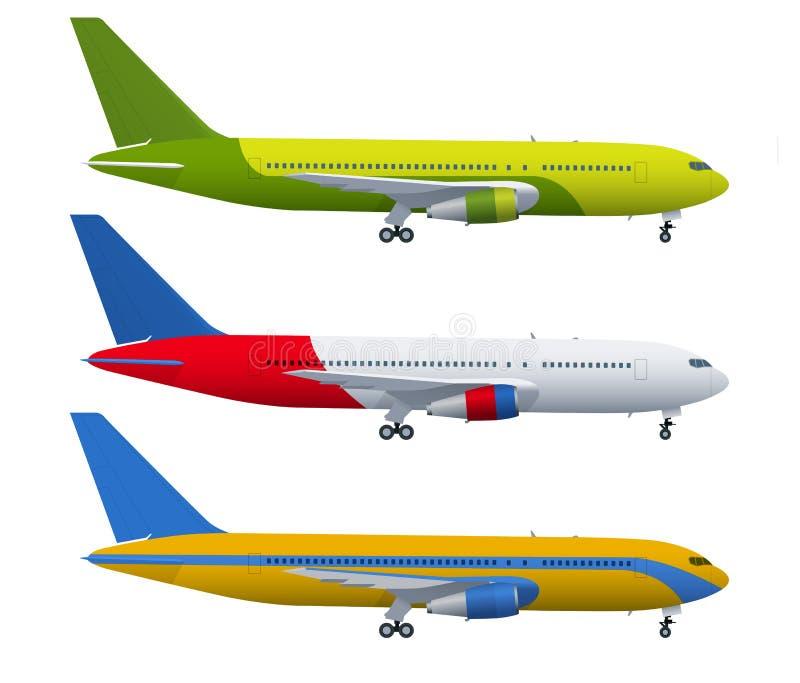 在蓝色背景的飞机 飞机工业图纸  在侧视图的班机 平的样式传染媒介例证 库存例证