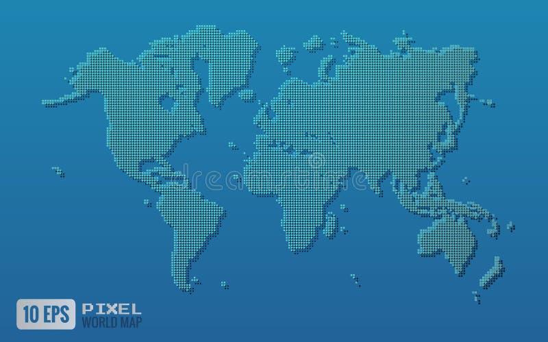 在蓝色背景的绿色映象点世界地图 库存例证