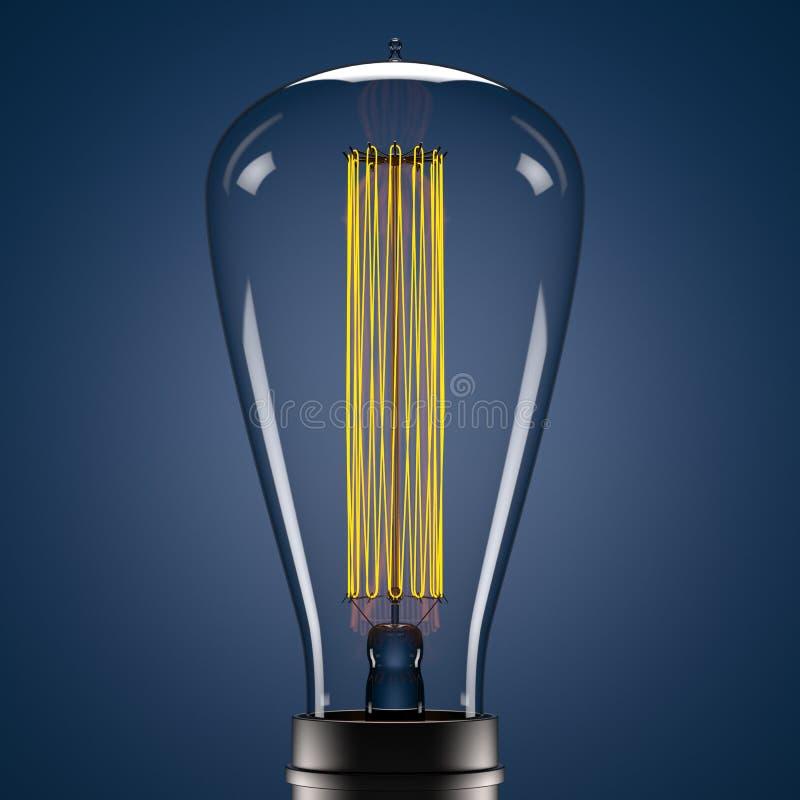 在蓝色背景的3d爱迪生黄色辉光灯 皇族释放例证