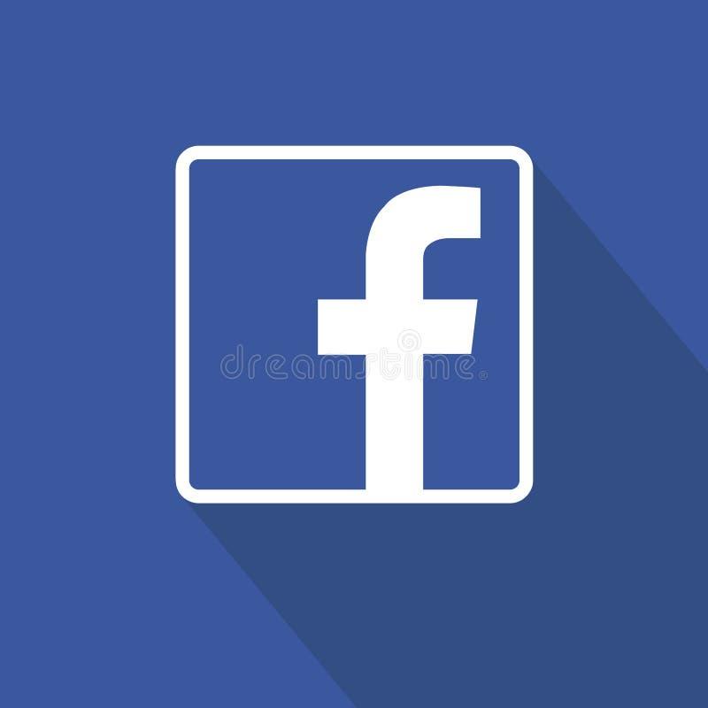 在蓝色背景的Facebook平的象设计 干净的传染媒介标志 3d媒体设计符号社会白色 向量例证