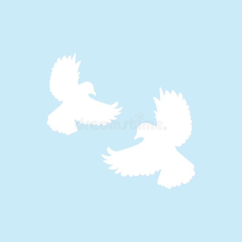 在蓝色背景隔绝的两只白色飞行鸠 在天空的鸟 也corel凹道例证向量 向量例证