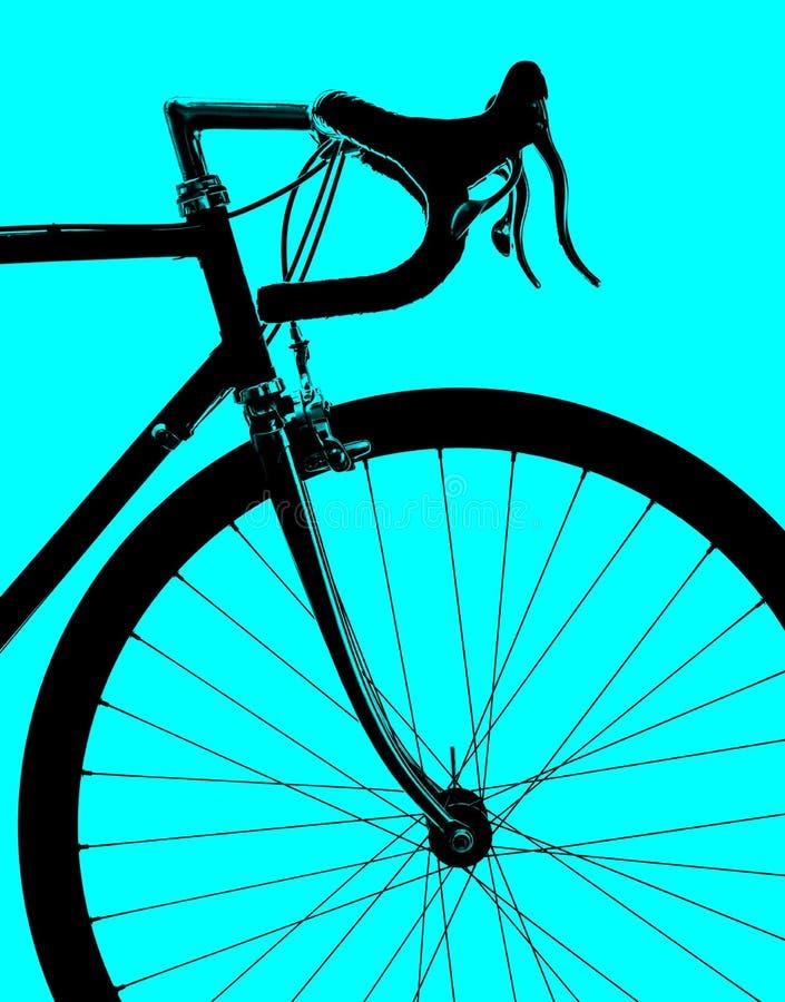 在蓝色背景隔绝的体育葡萄酒路自行车的外形 图库摄影