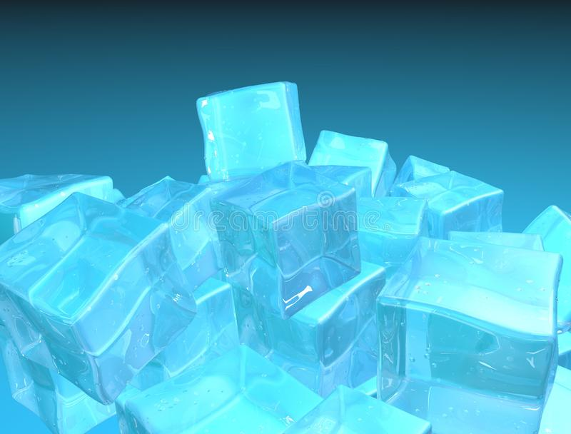 在蓝色背景隔绝的堆现实3d冰块 底下边界 r 皇族释放例证