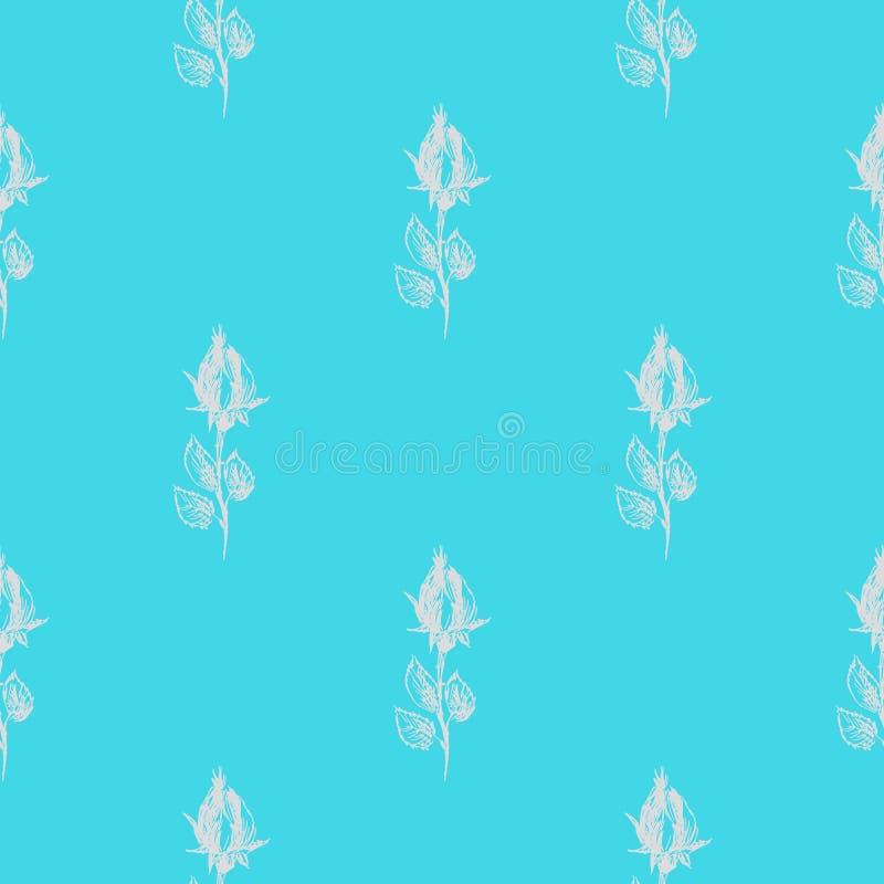 在蓝色背景隔绝的抽象玫瑰色花的无缝的手拉的样式 传染媒介花卉例证 现代逗人喜爱的乱画 皇族释放例证