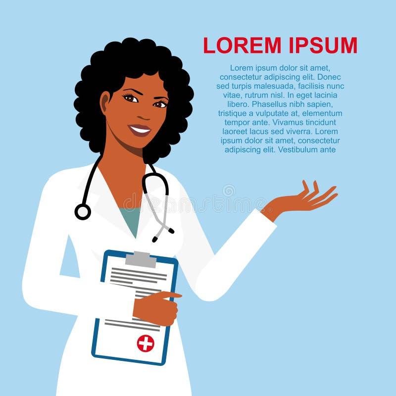 在蓝色背景隔绝的美丽的非裔美国人的种族妇女医生 有听诊器的妇女医生 皇族释放例证