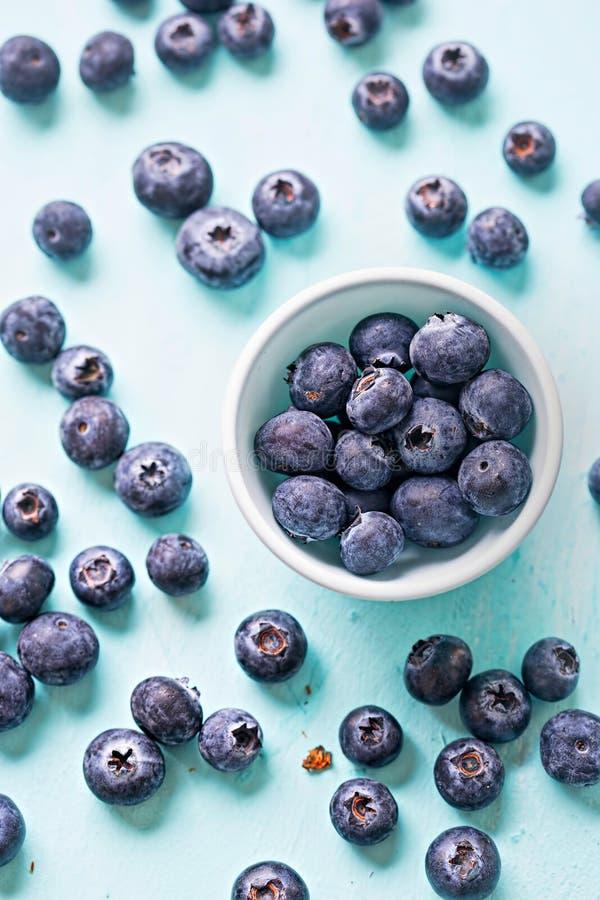 在蓝色背景页面设计的蓝莓 免版税图库摄影